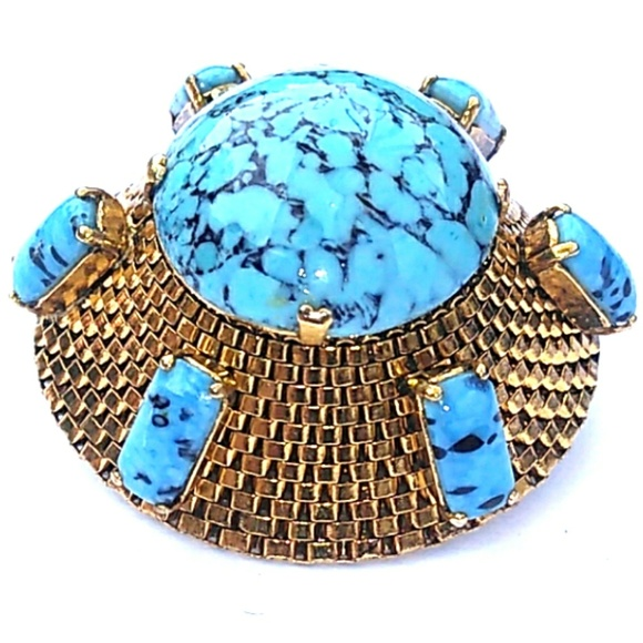 Dior Jewelry - RARE 1963 Christian Dior Domed Blue Stone Brooch